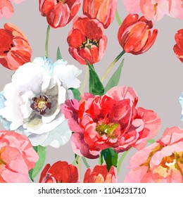 tulips and white peony watercolor on grey background seamless pattern for fabrics, paper