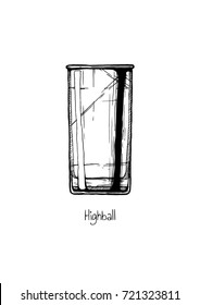 Tumbler glass. hand drawn illustration of highball in vintage engraved style. Isolated on white background.