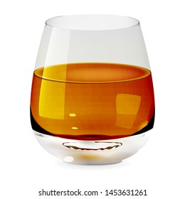 Tumbler glass with whiskey, realistic cup and isolated. Alcohol drink glass icon illustration.