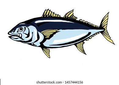 tuna big fish animation style illustration