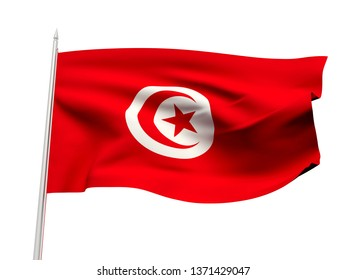 Tunisia flag floating in the wind with a White sky background. 3D illustration.