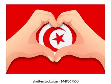 Tunisia flag and hand heart shape. Patriotic background. National flag of Tunisia  illustration