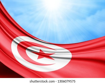Tunisia  flag of silk with copyspace for your text or images and sky background-3D illustration