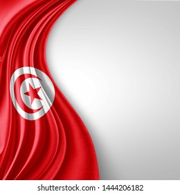 Tunisia  flag of silk with copyspace for your text or images and White  background-3D illustration
