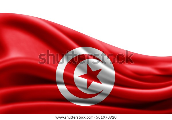 Tunisia flag of silk with copyspace for your text or images and white background -3D illustration