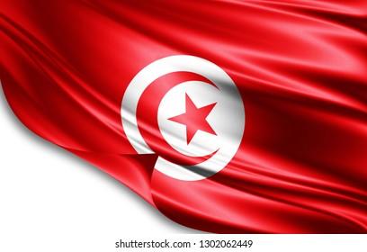 Tunisia flag of silk-3D illustration