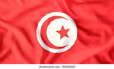 tunisia flag waving colorful