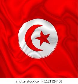Tunisia Flag Waving Digital Silk Satin Fabric