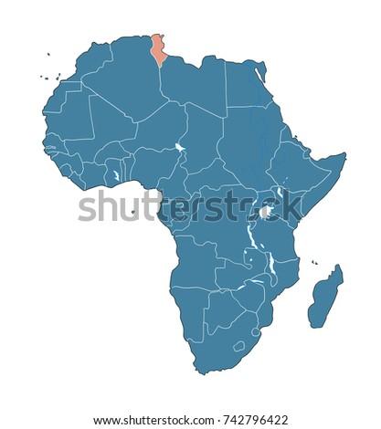 Tunisia On African Map Stock Illustration 742796422 - Shutterstock