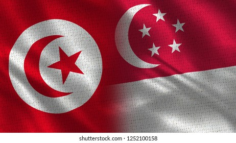 Tunisia and Singapore - 3D illustration Two Flag Together - Fabric Texture