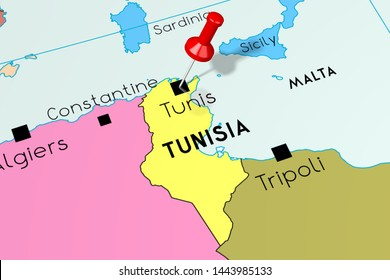 Tunisia, Tunis - capital city, pinned on political map - 3D illustration