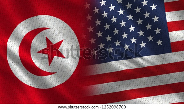 Tunisia Usa 3d Illustration Two Flag Stock Illustration 1252098700