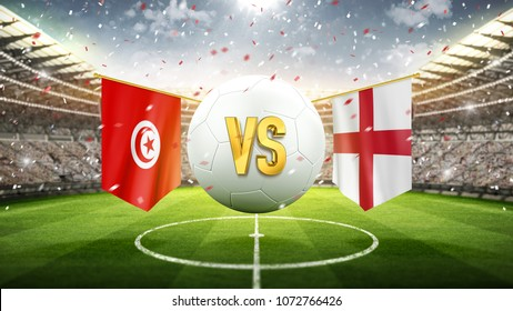 Tunisia vs England. Soccer concept. White soccer ball with the flag in the stadium, 2018. 3d render