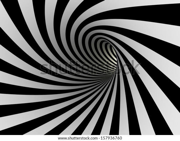 Tunnel of black and white lines, 3D Wallpaper Mural