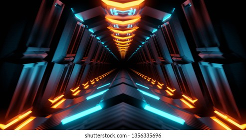 Tunnel ci-fi spaceship corridor. Futuristic technology abstract for tech titles and background. graphic network, big data, data center, server, internet, speed. 3D render