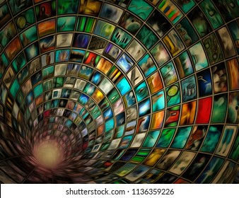 Tunnel of images. 3D rendering