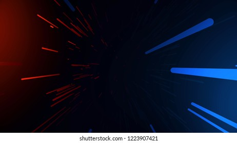 Tunneling trajectory. Abstract multicolored hyperspace tunnel on black background. Projection of slow motion of photons