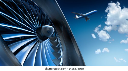 Turbine of airplane with airplane and cloud sky - 3d illustration