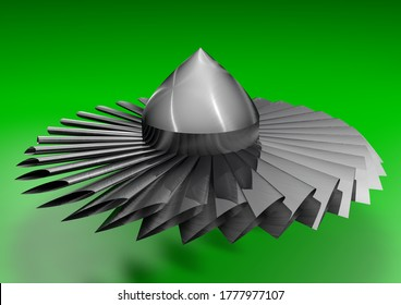 The turbine blades of the engine are made of titanium.The shoulder blades are deflected at a slight angle.On a green background. 3D render illustration.