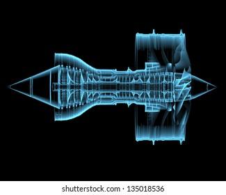 Turbo jet engine (3D xray blue transparent isolated on black background)