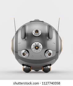 Turbo round robotic toy, 3d illustration