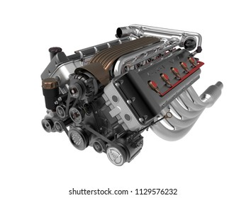 turbocharger engine isolated on white background. High resolution 3d