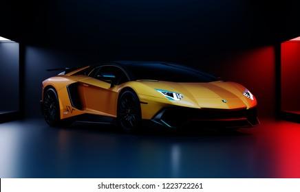 İstanbul, Turkey; 07.11.2018; Lamborghini Aventador 3D render