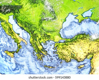 Turkey and Black sea region on 3D model of Earth. 3D illustration with plastic planet surface and ocean floor. Elements of this image furnished by NASA.
