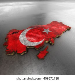 Turkey Country map 3d render, illustration isolated with flag and golden metal  texture