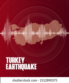 Turkey Earthquake Wave design  red map