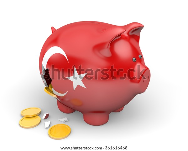 Turkey economy and finance concept for poverty and national debt