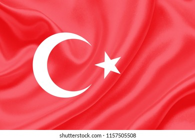 turkey fabric flag waving,3D Illustration