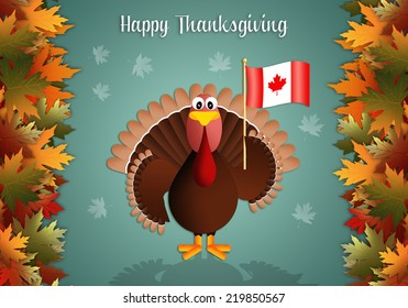 Turkey with flag of Canada for Thanksgiving