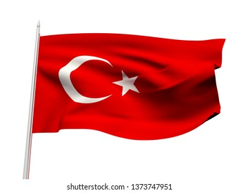 Turkey flag floating in the wind with a White sky background. 3D illustration.