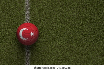 Turkey flag football on a green soccer pitch. 3D Rendering