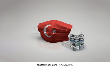 Turkey flag Medical Mask with Vaccine 3D Rendering