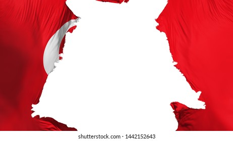 Turkey flag ripped apart, white background, 3d rendering