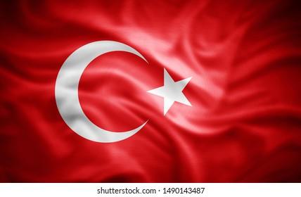 Turkey flag of silk -3D illustration
