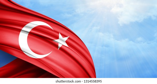 Turkey flag of silk with copyspace for your text or images and sky background-3D illustration