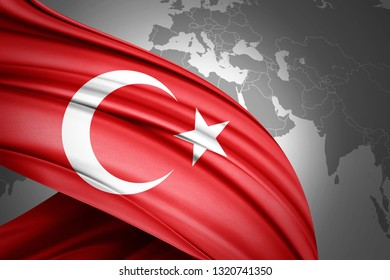 Turkey flag of silk with copyspace for your text or images and world map background-3D illustration