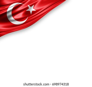 Turkey flag of silk with copyspace for your text or images and white background -3D illustration