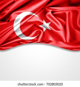 Turkey  flag of silk with copyspace for your text or images and white background-3D illustration