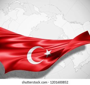 Turkey flag of silk and world map background -3D illustration