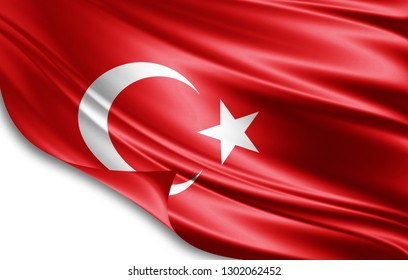 Turkey flag of silk-3D illustration