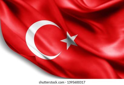 Turkey flag of silk-3D illustration