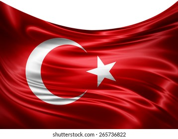 Turkey flag and white background