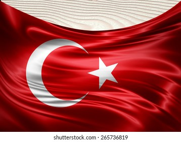 Turkey flag and wood background