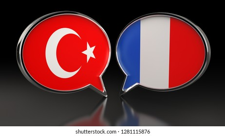 Turkey and France flags with Speech Bubbles. 3D illustration
