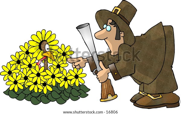 A turkey hiding in a daisy patch with a pilgrim pointing at it.