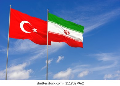 Turkey and Iran flags over blue sky background. 3D illustration